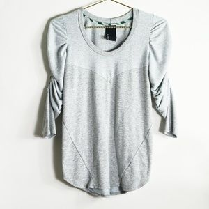 Anthropologie Dolan Ruched Sleeve Gray Knit Top M